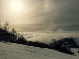 sunsets and clouds from ski slopes