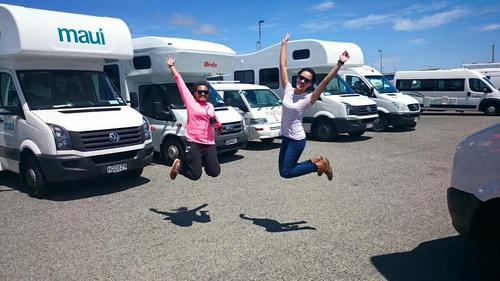Jumpshots and campervans in New Zealand with the Maui . New Zealand Motorhome journey begins
