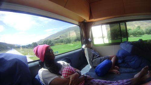 Chilling at the back of the campervan in our new zealand south island road trip