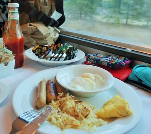 Breakfast in the Dining Car on The Canadian
