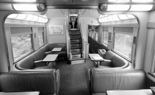 Economy Class Dining Area with staircase to Dome Carriage