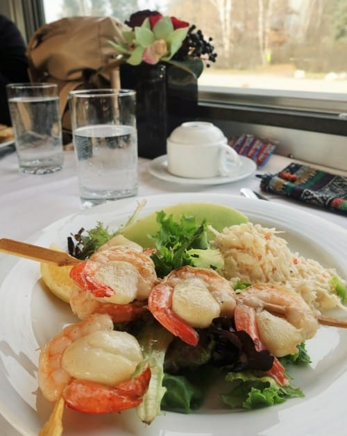 Lunch on board The Canadian VIA Rail