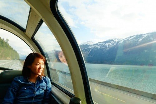 Surviving 27 hours on Rail - Vancouver to Edmonton. Me and my window seat in the Dome carriage on The Canadian