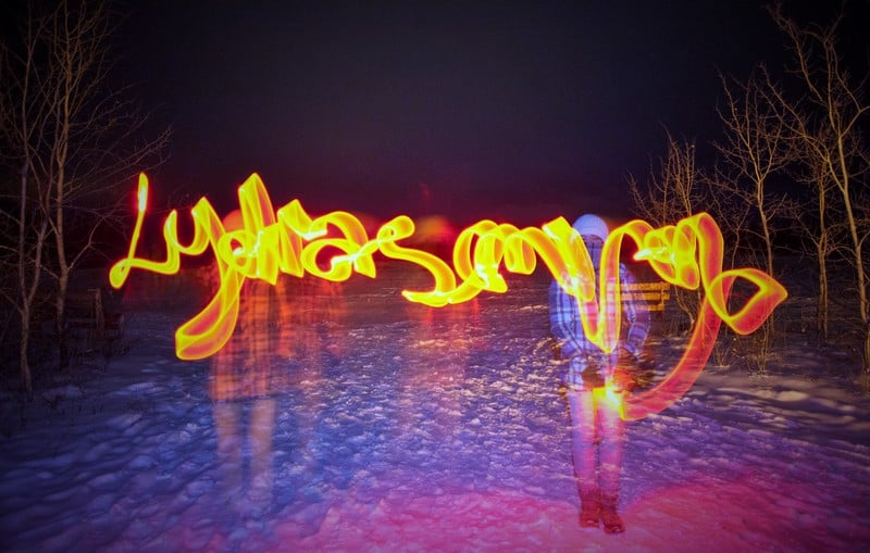 Playing with light sticks in the cold winter night - Lydiascapes