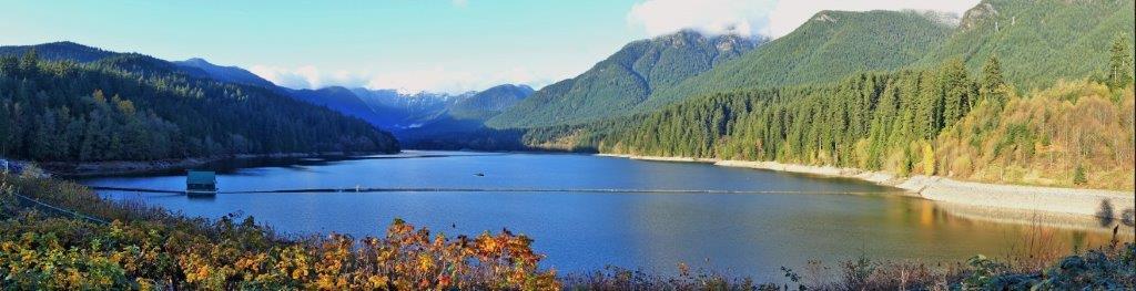 Panoramic View of Capilano Lake along the trek | Day Hikes in British Columbia
