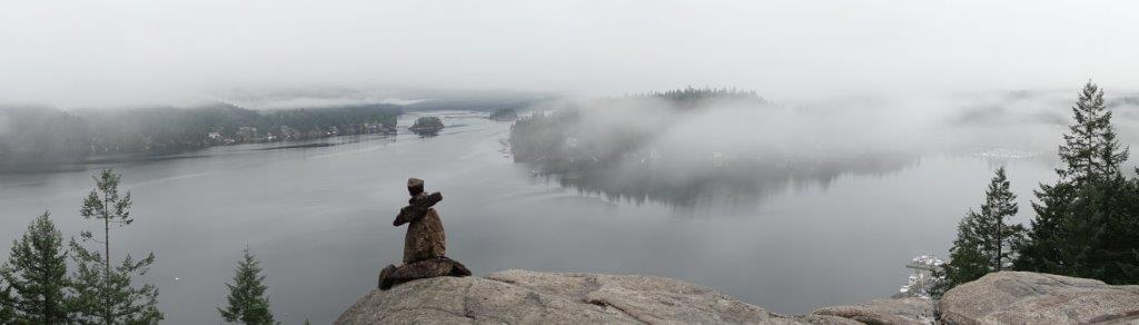 Panoramic View of the Indian Arm from Quarry Rock Lookout Point on a foggy day | Trekking Trails in British Columbia