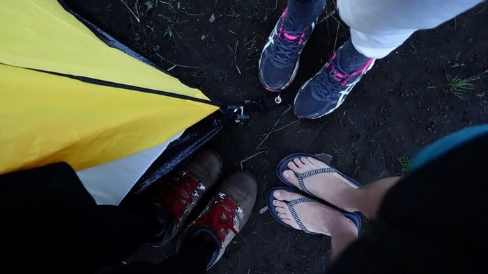 shoes and slipper for the overnight rest at mount rinjani | Mt Rinjani Hike