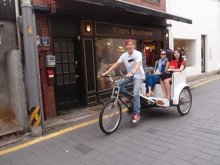 Pedi Cab ride around the village - mode of transport bicycle