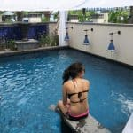 Lazing by our beautiful private pool in our langkawi hotel