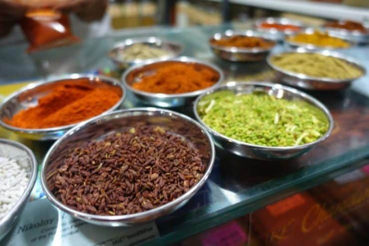 Various spices and curry powders of India