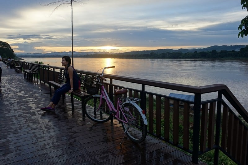 Sunset View along the Mekong River Chiang Khan Thailand Border