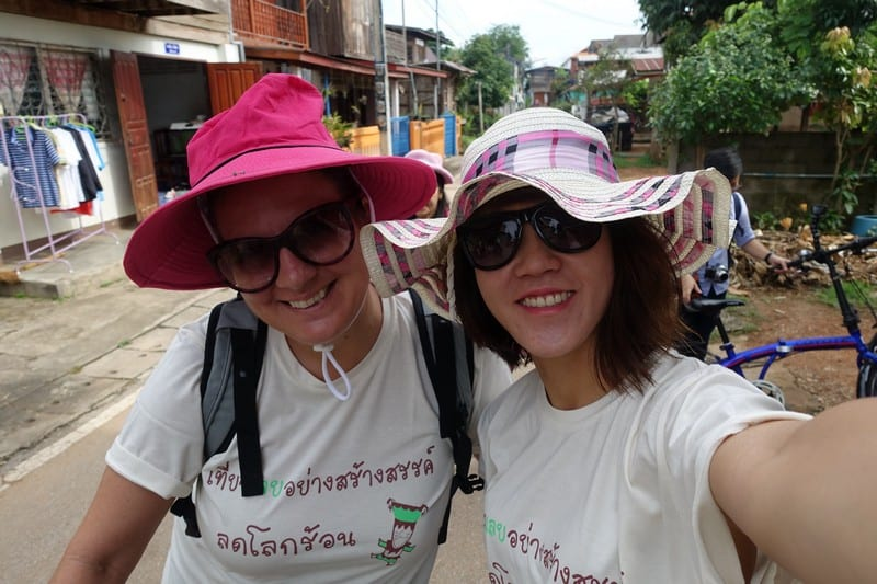 Cycling around with the lovey hats provided by Thailand Eco and Adventure Association