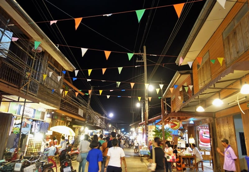 Night Market and Streets bustling with activity in Chiang Khan