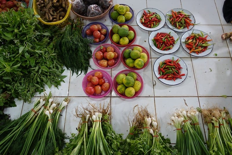 Local Fresh Fruit and Vegetable herbs sold in a thai wet market