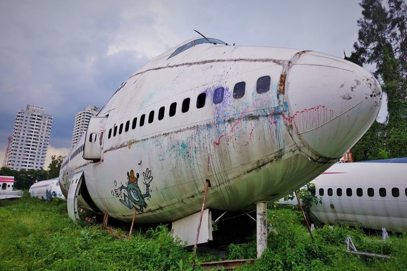 Exploring the Airplane Graveyard hidden in Bangkok - Deserted Airplane left here in a abandoned field in Bangkok