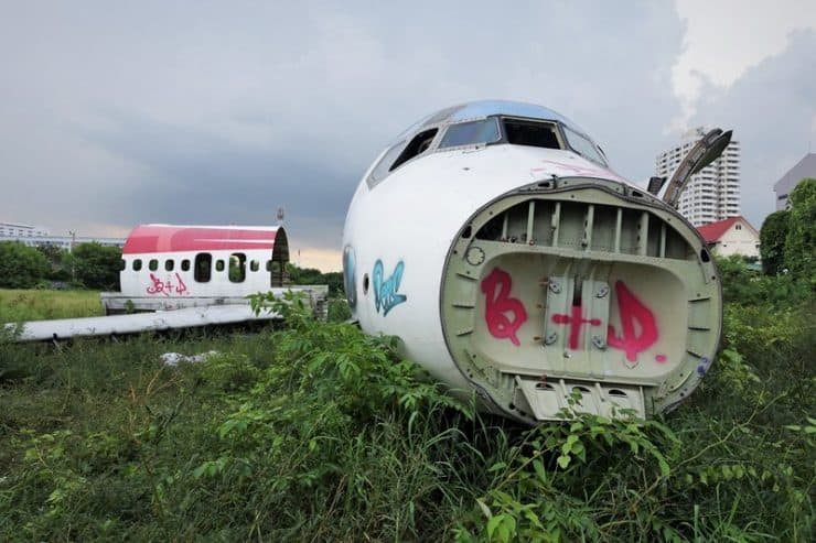 Tourist spot - Graffiti and Spray Painted Marks on the plane and wreckage | Quick tour of an airplane junkyard