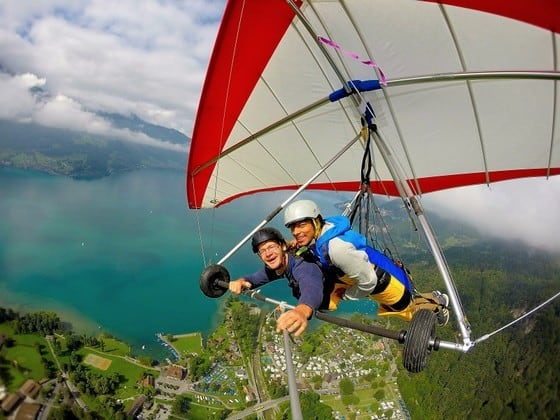 Hanggliding in Switzerlandin 2015 - full of adventure and fun and at the same time you get to see the beautiful earth!