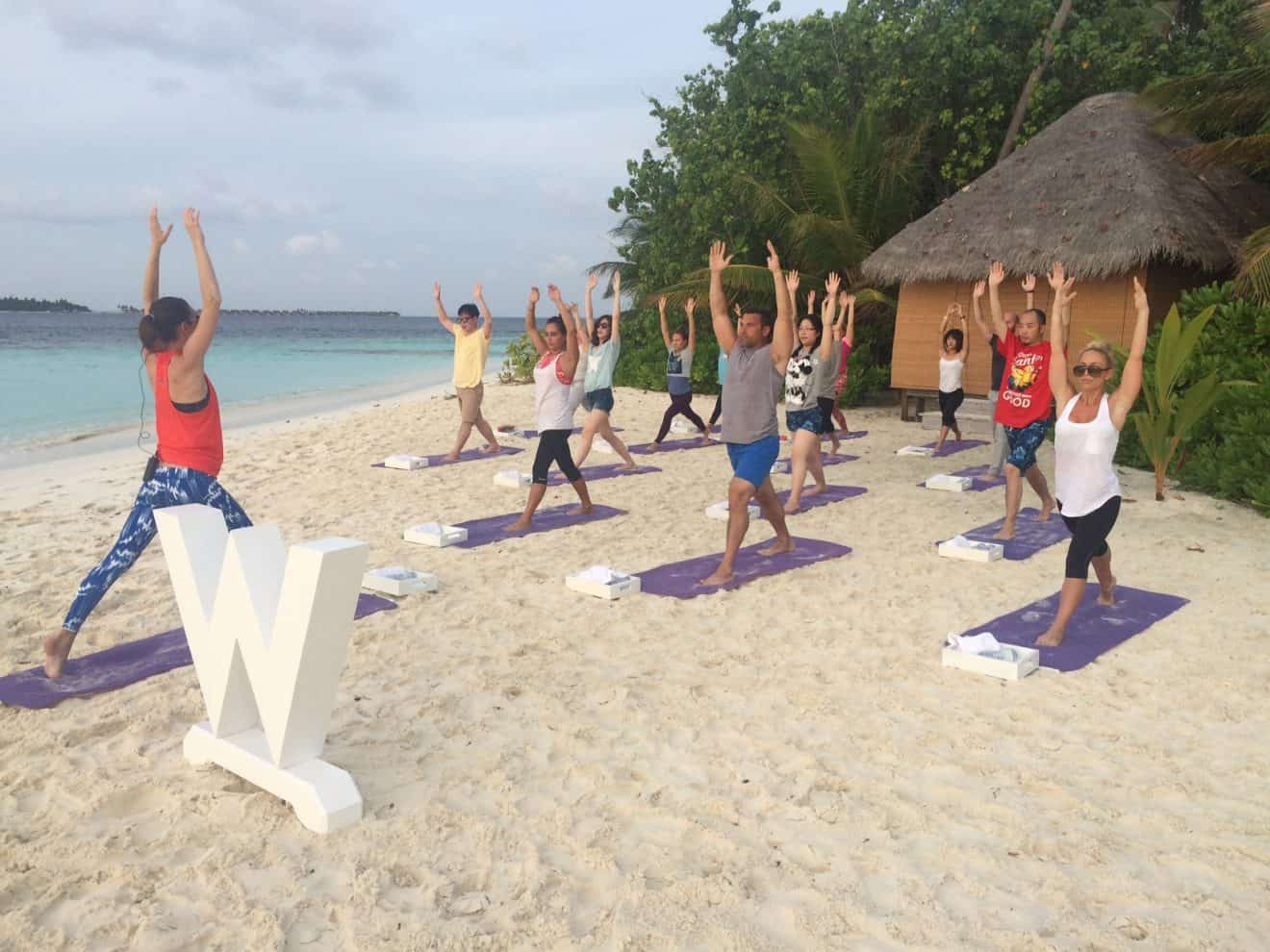 Yoga with Tara as we enjoy the morning sun and breeze. A much needed Maldives yoga retreat and vacation for us yogis