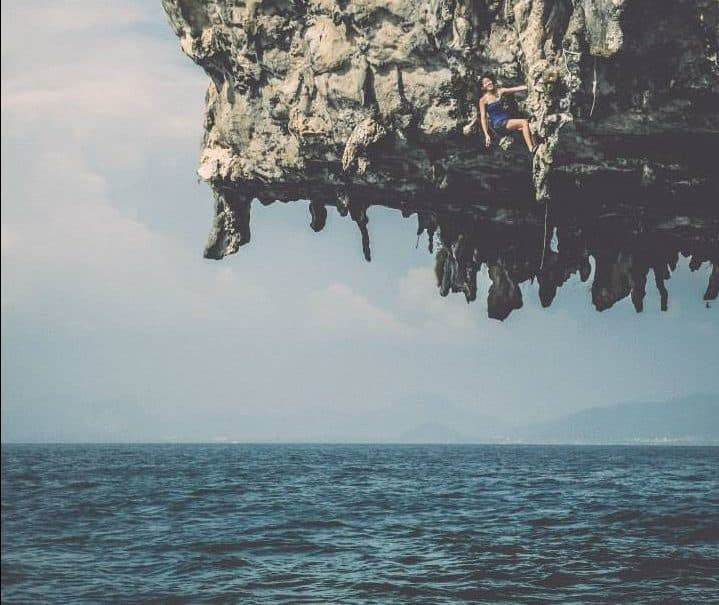 craziest things travelers have ever experienced - Attempting deep water solo in Krabi Thailand