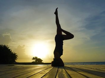 Sunset yoga poses in W Maldives