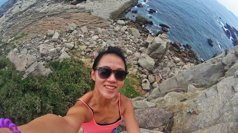 Selfie at the top of the rock climbing route in Longdong Taiwan | Jiufen climbing