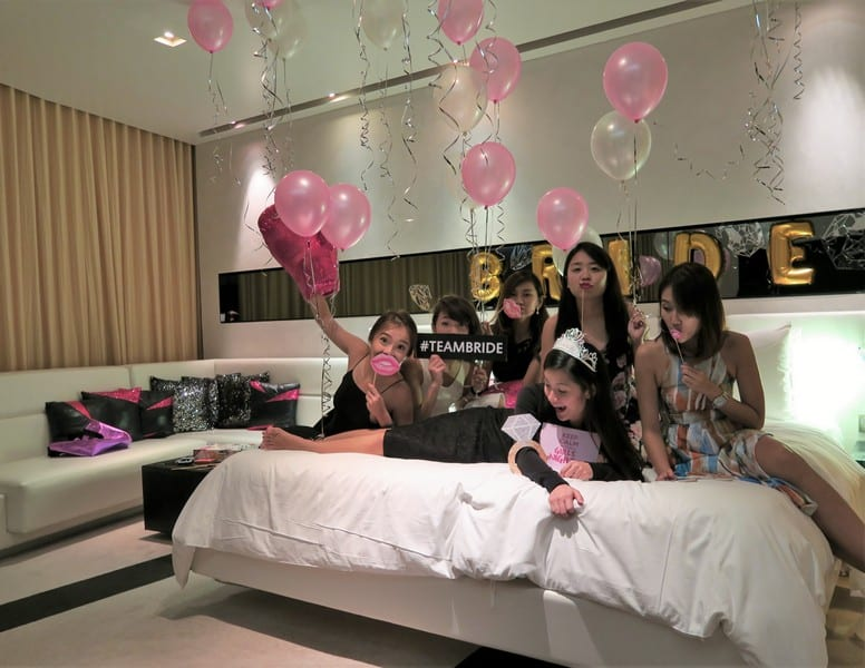 Going crazy with props and balloons before the party | Hen night bangkok bachelorette party