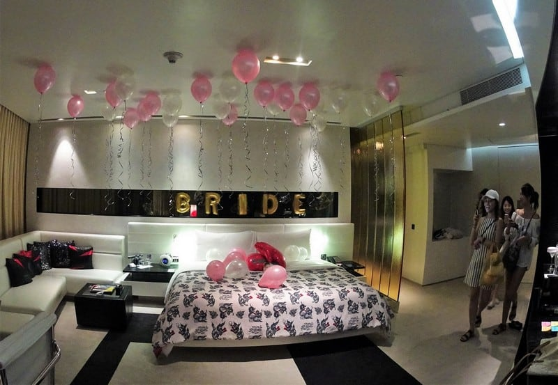 Decoration of the W Bangkok room for the bride to be - Bangkok is the Perfect Bachelorette Getaway and Party Place