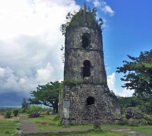 The Cagsawa Church Ruins overseeing the beautiful Mayon Volcano. Its a pity its a cloudy day that day hence the volcano is hidden  | Churches in Bicol