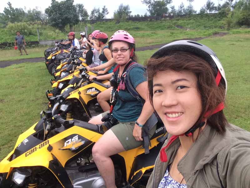 Group Shot before we speed off on our ATV mayon volcano. Ready to start our Adventure ATV Tour! outdoor adventure in bicol region