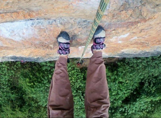 Yangshuo China | High Above the ground rock climbing