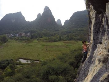 High Above the ground rock climbing | Rock Climbing in Asia and China