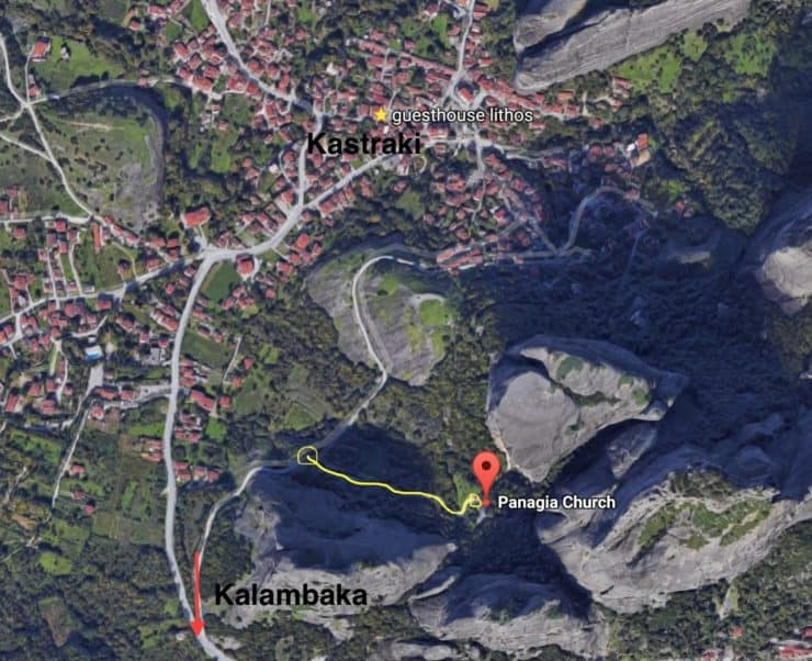 The Hermit Caves are at a small church called Panagia Church. If you are driving you can park along the main road (yellow circle), the gate could be closed at the front, just walk to the side of it and follow the path. The path to the church lies on a road connecting Kalambaka and Kastraki.