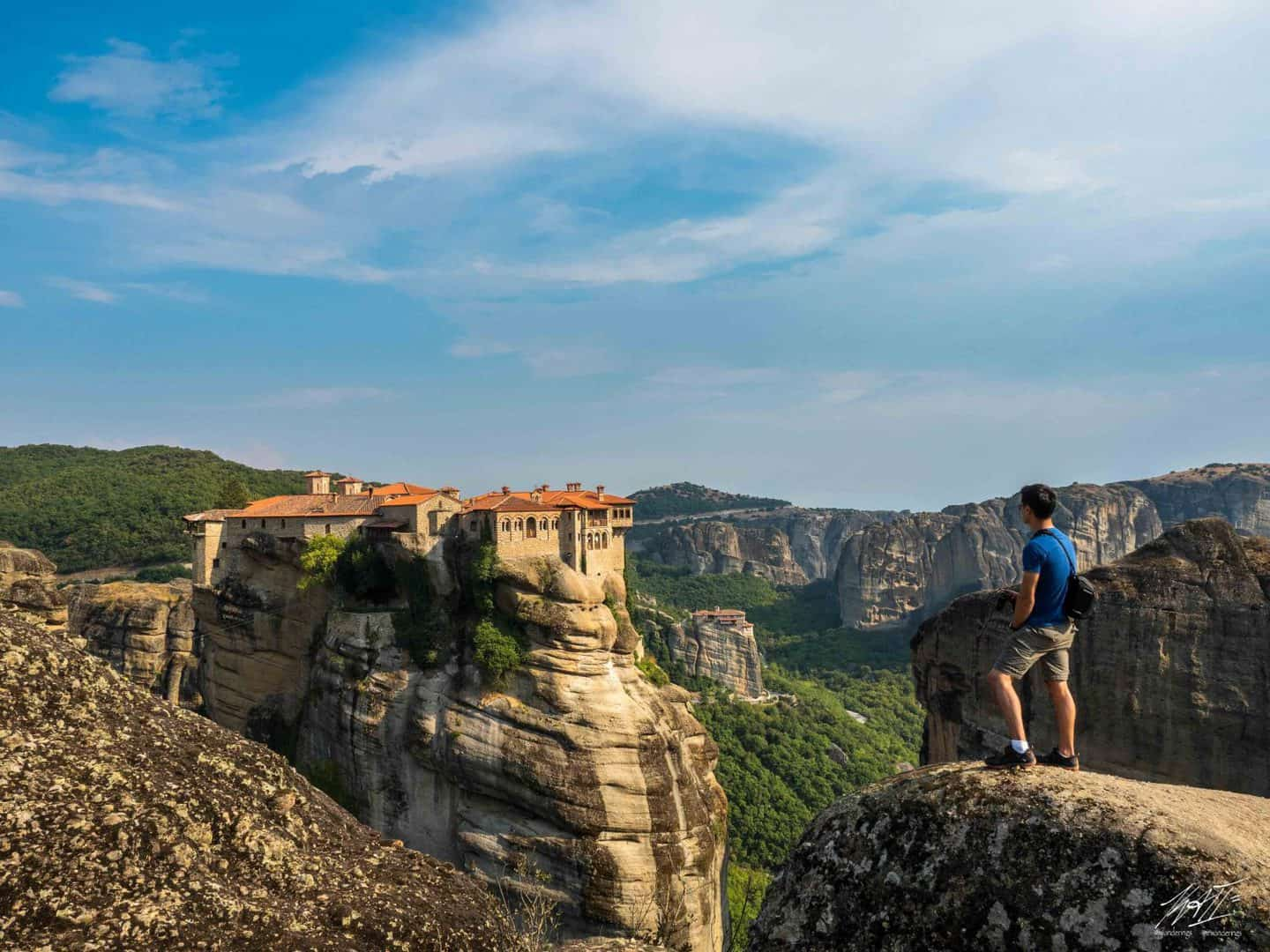 Monastery of Varlaam is the second largest monastery in Meteora, with the Monastery of Rousanou behind it.
