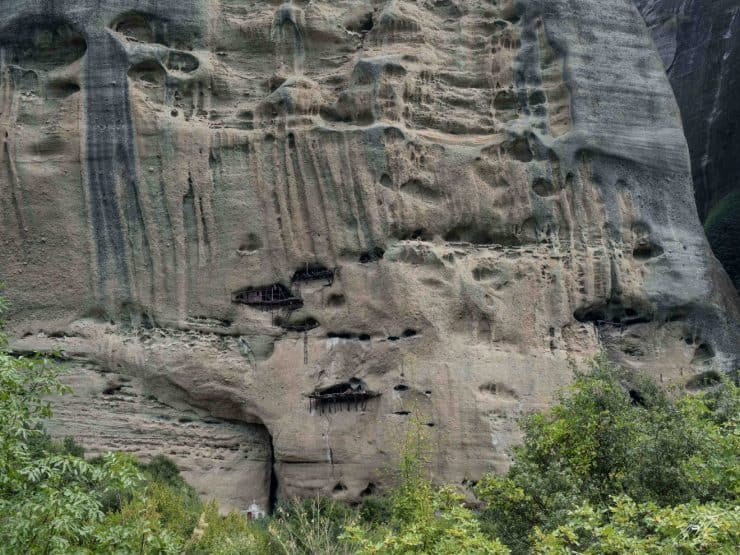 Some of the hermit caves. Could you imagine living up there for the rest of your life? | Meteora in Greece
