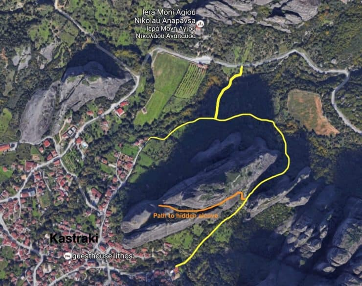 There are a few paths scattered around the area, one interesting trail circles around the Monk's Prison. You can access the trail from Kastraki or from the road near Saint Nicholas. The orange path is a trail that leads up the side of the rock to a nice little hidden alcove, it's a bit steep, so be cautious.