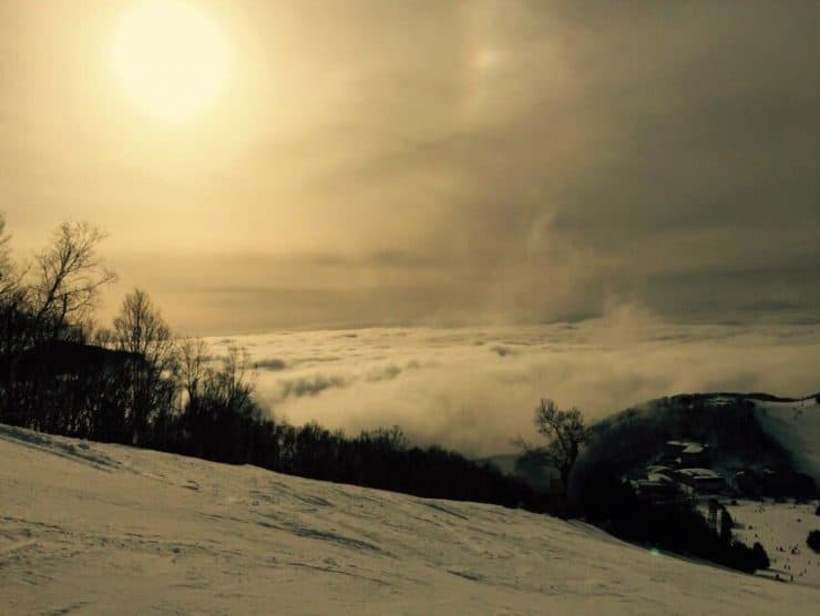 """Sunset at the top of the ski slope iin Shiga Kogen """" Destinations for the Best Sunrises and Sunsets in the World"""