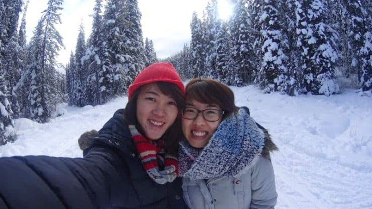 me and my canadian good friend hiking around in Banff national park