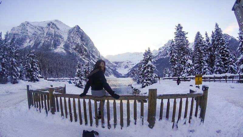 Hiking in Lake Louise During winter season