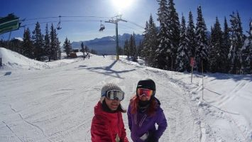 skiing at whistler in christmas winter season with new found friend
