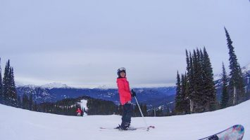 At the top of the slope travel ski during winter season in canada