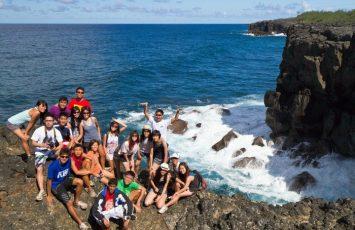 group photo in mauritius coastal area