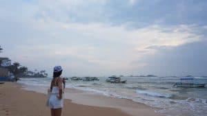enjoying the view of the beach at sri lanka