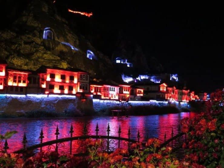 Night light up at Amasya of the old ottoman houses- Black Sea Region of Turkey