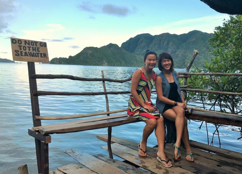 The view of the lake and sunset at the hotsprings - diving and snorkeling in palawan