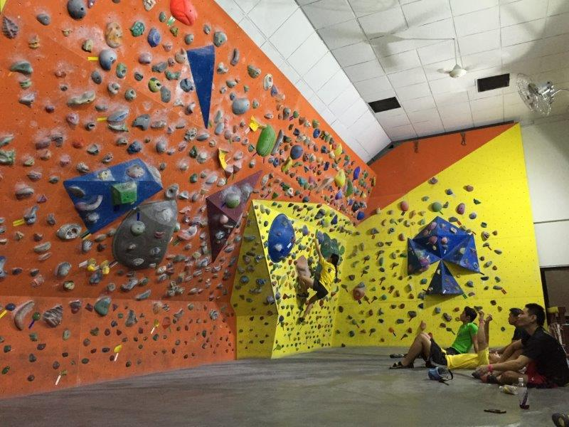 Set your target and get a good rock climbing workout, at Climb Asia, Singapore's 1st bouldering and climbing gym. Photo credited to Climb Asia