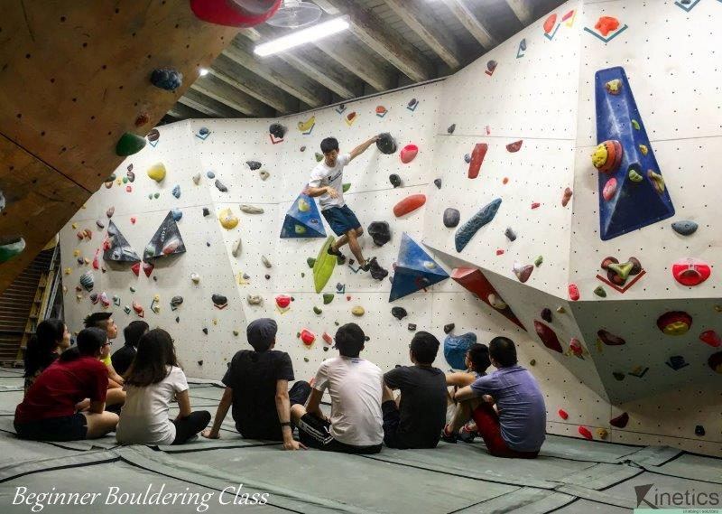 Class in action. Some students learning the 101 about bouldering at Kinetics Bouldering Gym