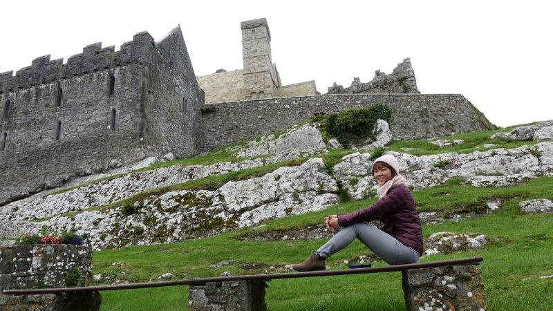 Posing with the beautiful Rock of Cashel - One of the most visited medieval sites in Ireland