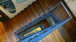 The blue stairway up to the Good Morning Crib.