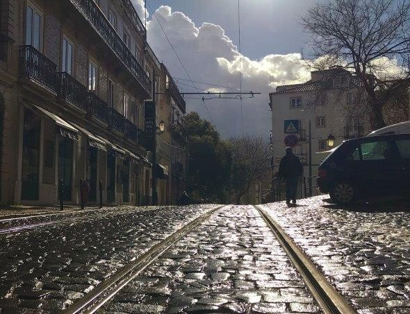 Cobbled stone streets of Lisbon after the rain
