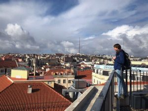 Amazing view of Lisbon and the Tagus River from this lookout point. Lisbon beaches further down?